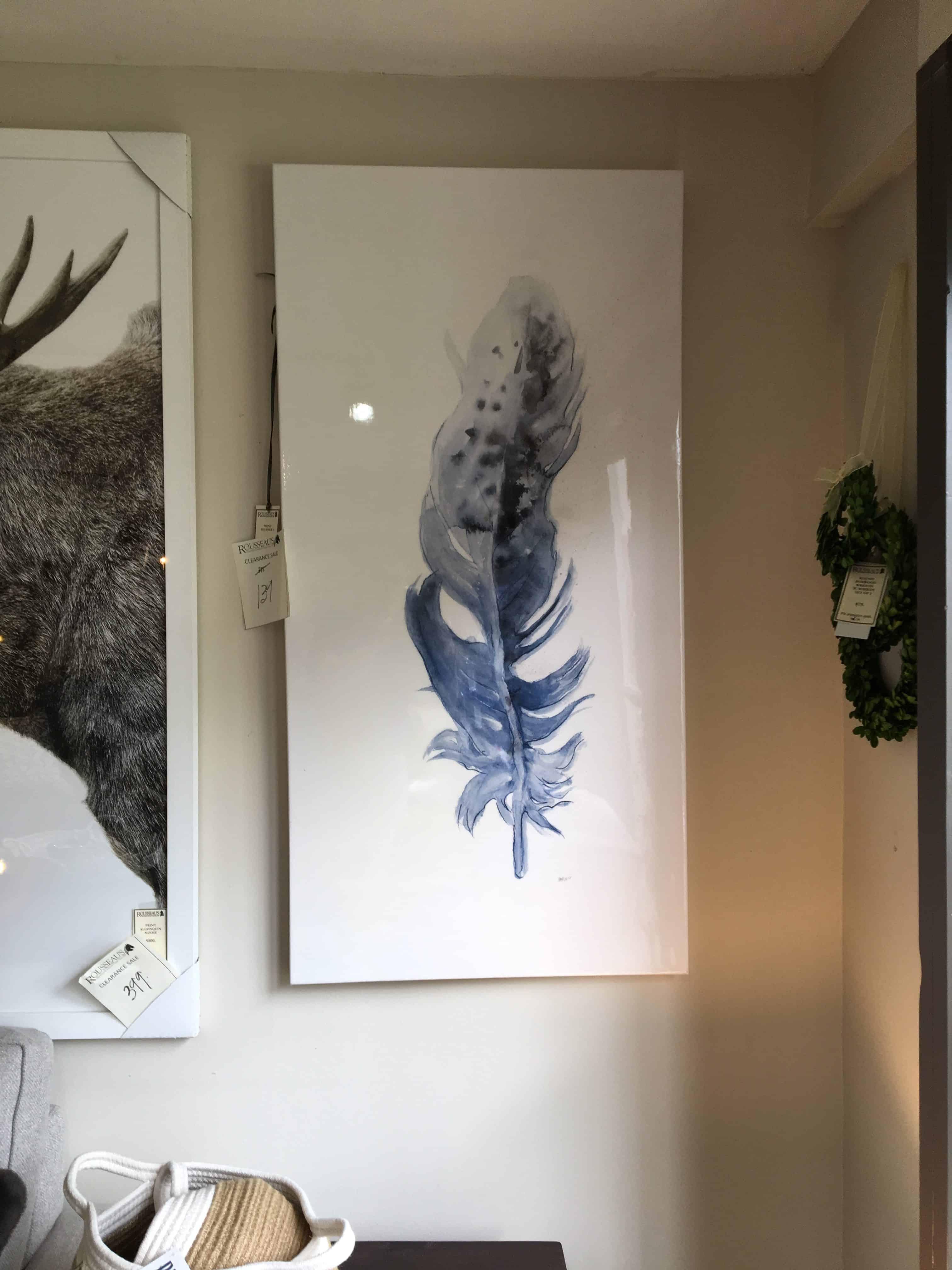Glazed Canvas Feather I Print